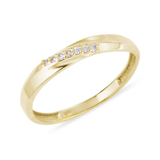 YELLOW GOLD RING WITH DIAMONDS - RINGS FOR HER - WEDDING RINGS