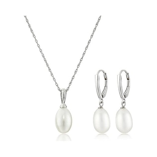 PEARL EARRINGS AND PENDANT SET - PEARL SETS - PEARL JEWELLERY