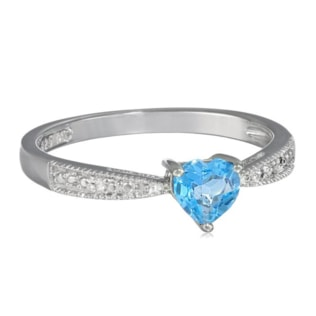 BLUE TOPAZ AND DIAMOND RING IN STERLING SILVER - TOPAZ RINGS - RINGS