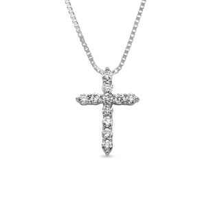 DIAMOND CROSS PENDANT IN 14KT WHITE GOLD - WHITE GOLD PENDANTS - PENDANTS