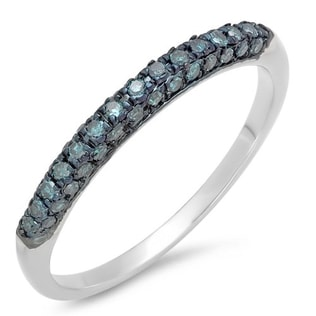 BLUE DIAMOND WEDDING RING IN STERLING SILVER - STERLING SILVER RINGS - RINGS