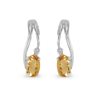CITRINE AND DIAMOND EARRINGS IN 14KT WHITE GOLD - WHITE GOLD EARRINGS - EARRINGS