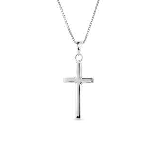 Minimalist cross necklace in white gold
