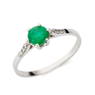 EMERALD AND DIAMOND RING IN 14KT GOLD - WHITE GOLD RINGS - RINGS