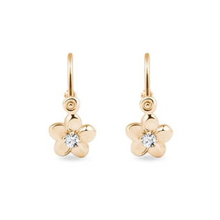 Gold earrings flower with diamonds