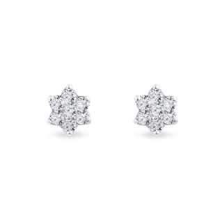 DIAMOND FLOWER EARRINGS IN 14KT GOLD - WHITE GOLD EARRINGS - EARRINGS