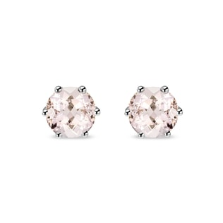 GOLDEN STUD EARRINGS WITH MORGANITE - WHITE GOLD EARRINGS - EARRINGS