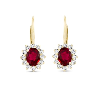 EARRINGS WITH DIAMONDS AND RUBIES - RUBY EARRINGS - EARRINGS