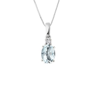 AQUAMARINE AND DIAMOND PENDANT IN 14KT GOLD - AQUAMARINE PENDANTS - PENDANTS