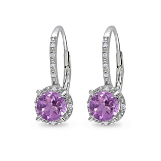 STERLING SILVER EARRINGS AMETHYST AND DIAMONDS - STERLING SILVER EARRINGS - EARRINGS