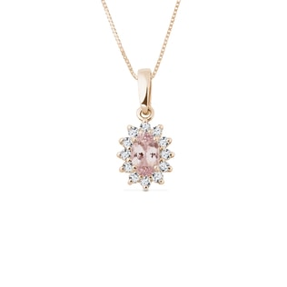 NECKLACE WITH DIAMONDS AND MORGANITE - GEMSTONE PENDANTS - PENDANTS