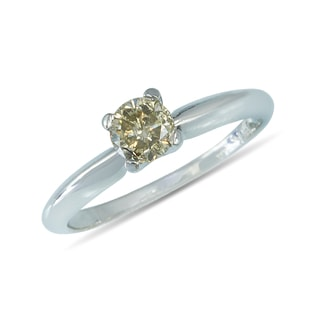 CHAMPAGNE DIAMOND RING IN 14KT WHITE GOLD - DIAMOND RINGS - RINGS