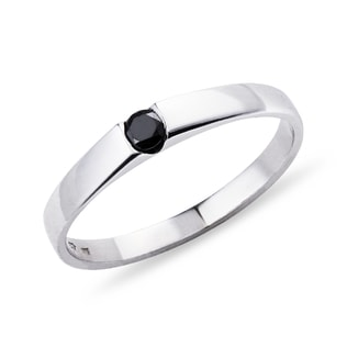 GOLD RING WITH BLACK DIAMOND - DIAMOND RINGS - RINGS