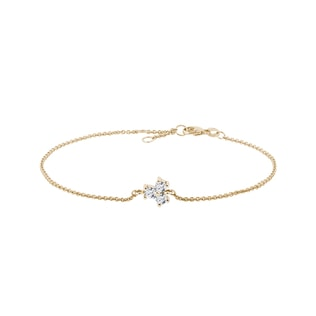 Trefoil diamond bracelet in yellow gold