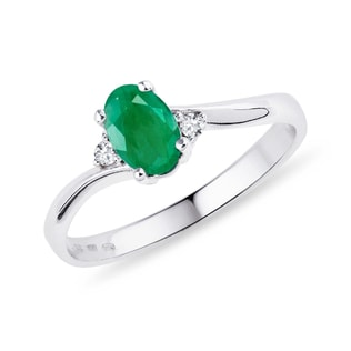 EMERALD AND DIAMOND RING IN STERLING SILVER - EMERALD RINGS - RINGS