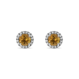 CITRINE AND SYNTHETIC SAPPHIRE EARRINGS IN STERLING SILVER - STERLING SILVER EARRINGS - EARRINGS