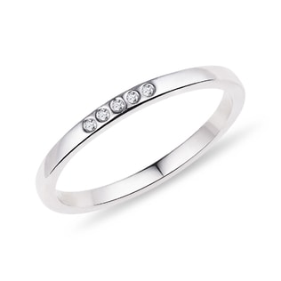 Wedding ring made of white gold with diamonds