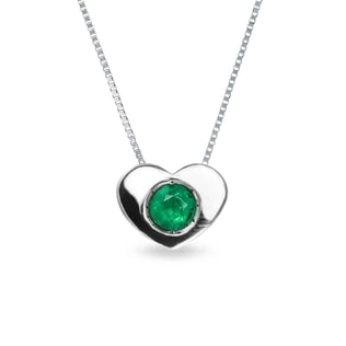 EMERALD HEART PENDANT IN 14KT GOLD - EMERALD PENDANTS - PENDANTS