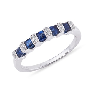 SAPPHIRE AND DIAMOND RING IN 14KT GOLD - SAPPHIRE RINGS - RINGS