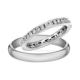 WHITE GOLD WEDDING SET - DIAMOND WEDDING RINGS - WEDDING RINGS