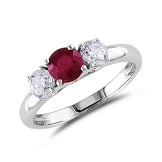 RUBY AND DIAMOND RING - RUBY RINGS - RINGS