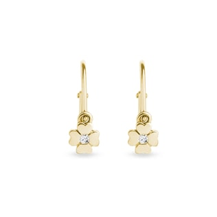 DIAMOND CLOVER EARRINGS FOR CHILDREN IN 14KT GOLD - YELLOW GOLD EARRINGS - EARRINGS