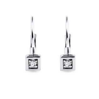 WHITE GOLD EARRINGS WITH DIAMONDS - DIAMOND EARRINGS - EARRINGS