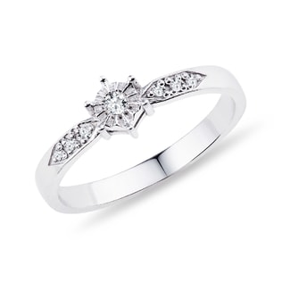 SILVER ENGAGEMENT RING WITH DIAMONDS - STERLING SILVER RINGS - RINGS
