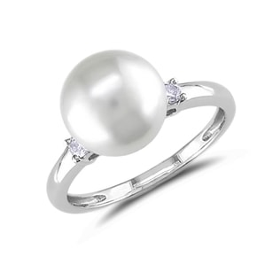 PEARL AND DIAMOND RING IN 14KT WHITE GOLD - PEARL RINGS - PEARL JEWELLERY