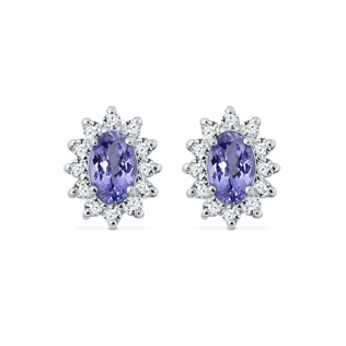 WHITE GOLD EARRINGS WITH DIAMONDS AND TANZANITE - TANZANITE EARRINGS - EARRINGS