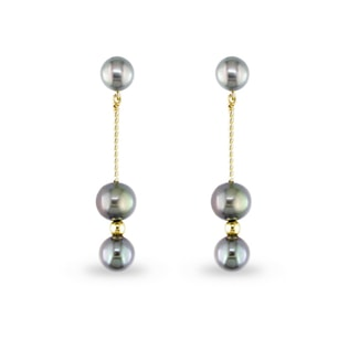 BLACK PEARL PENDANT EARRINGS IN 14KT WHITE GOLD - PEARL EARRINGS - PEARL JEWELLERY