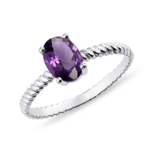 GOLD RING WITH AMETHYST - AMETHYST RINGS - RINGS