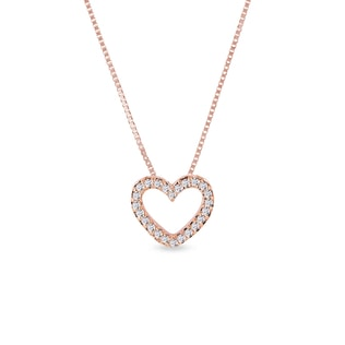 Diamond heart necklace in rose gold