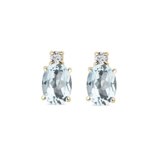 Aquamarine and diamond earrings in 14kt solid gold