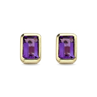AMETHYST 14KT GOLD EARRINGS - YELLOW GOLD EARRINGS - EARRINGS