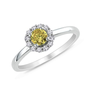 YELLOW AND WHITE DIAMOND RING IN 14KT GOLD - FANCY DIAMOND ENGAGEMENT RINGS - ENGAGEMENT RINGS