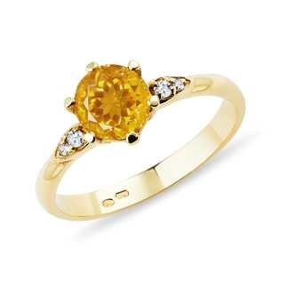 CITRINE RING WITH DIAMONDS - ENGAGEMENT GEMSTONE RINGS - ENGAGEMENT RINGS