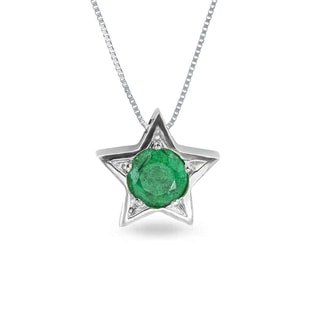 EMERALD 14KT GOLD STAR PENDANT - EMERALD PENDANTS - PENDANTS