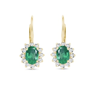 Earrings with emeralds and diamonds