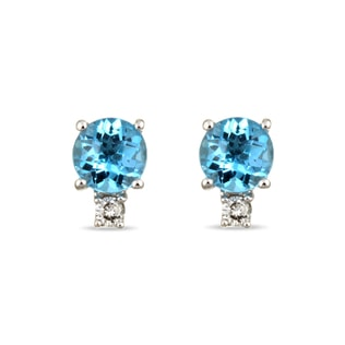 DIAMOND AND BLUE TOPAZ EARRINGS IN 14KT WHITE GOLD - TOPAZ EARRINGS - EARRINGS