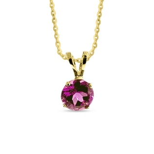 TOURMALINE 14KT GOLD NECKLACE - YELLOW GOLD PENDANTS - PENDANTS
