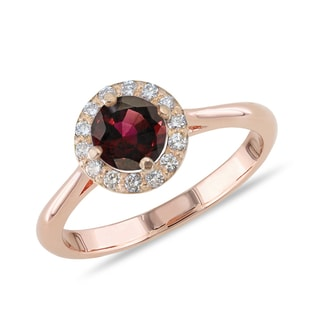 GARNET AND DIAMOND RING IN 14KT GOLD - ENGAGEMENT HALO RINGS - ENGAGEMENT RINGS