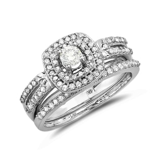 ENGAGEMENT AND WEDDING RING SET IN 14KT WHITE GOLD - WHITE GOLD RINGS - RINGS