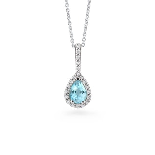 GOLD NECKLACE WITH AQUAMARINE AND DIAMONDS - AQUAMARINE PENDANTS - PENDANTS