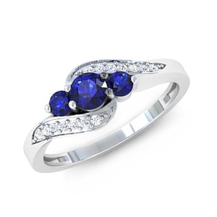 BLUE SAPPHIRE AND DIAMOND ENGAGEMENT RING IN 14KT GOLD - SAPPHIRE RINGS - RINGS