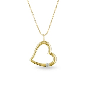 DIAMOND HEART PENDANT IN 14KT YELLOW GOLD - HEART PENDANTS - PENDANTS