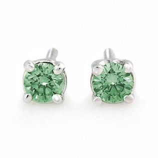 DIAMOND EARRINGS WITH GREEN DIAMONDS, 14K GOLD - DIAMOND EARRINGS - EARRINGS