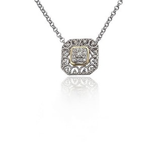 STERLING SILVER PENDANT WITH DIAMONDS - DIAMOND PENDANTS - PENDANTS