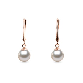 Akoya pearl earrings in rose gold