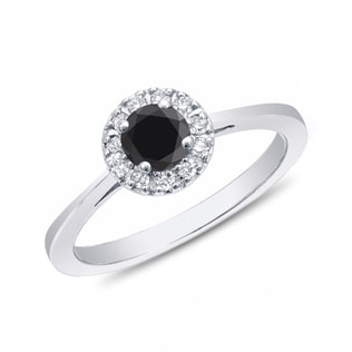 BLACK AND WHITE DIAMOND RING IN 14KT GOLD - FANCY DIAMOND ENGAGEMENT RINGS - ENGAGEMENT RINGS